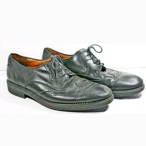 Bill Blass Wing Tip Oxford Blk Leather Dress Shoes